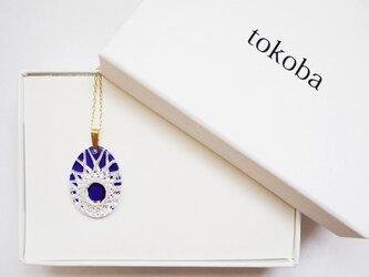 tokoba クリスタルネックレス D-spider web (blue)の画像
