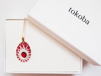 tokoba クリスタルネックレス D-spider web (red)の画像