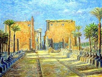 早朝のルクソール神殿の画像