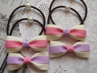 ★好評・再販★ ピンクとむらさきとアイボリーのリボンのヘアゴム 2組の画像