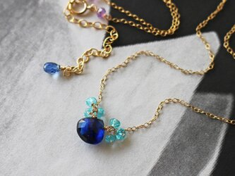 ◆K14gf、宝石質カイヤナイト、アパタイト、アメジスト、シンプルN、一点物の画像