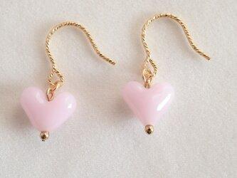 GLASS ハートフックピアス 白ピンクの画像