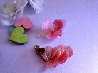 プリザーブドフラワー アジサイの翼イヤーカフス ピンクの画像