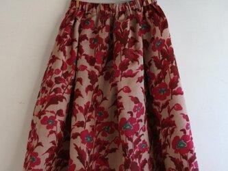 銘仙 ピンク花のギャザースカート Fサイズ2の画像