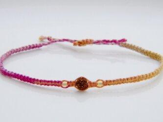 ルドラクシャとシトリンのヘンプ編みブレスレットI(グラデーションピンク色)の画像