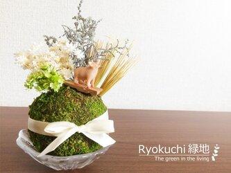 草原ブヒーちゃん<苔球置物>の画像