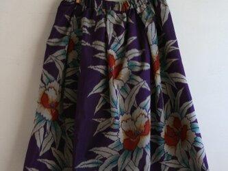 銘仙 紫牡丹のギャザースカート Mサイズの画像