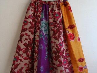 銘仙など 乙女色パッチワークギャザースカート Fサイズ2の画像