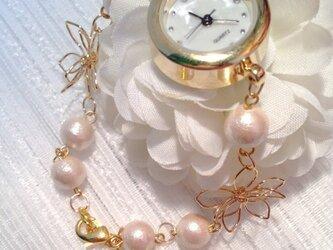 完全受注生産【再】コットンパール&フラワーブレスレットウォッチ (腕時計)の画像