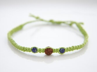 ルドラクシャとラピスラズリのヘンプ編みブレスレットI(緑色)の画像