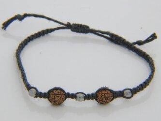 ルドラクシャとラブラドライトのヘンプ編みブレスレットI(濃茶色)の画像