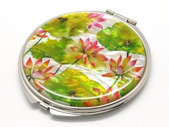 コンパクトミラー 天然貝仕様(蓮の花)<螺鈿アート>の画像
