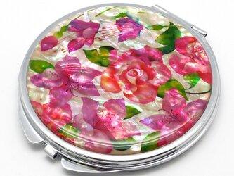 コンパクトミラー 天然貝仕様(バラ・フクシア・ツツジ ~愛の花言葉~)<螺鈿アート>の画像