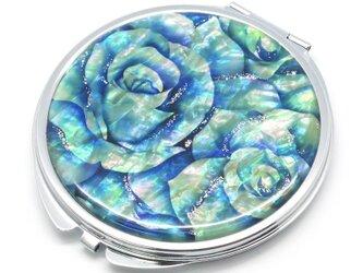 コンパクトミラー 天然貝仕様(ブルーローズ)<螺鈿アート>の画像