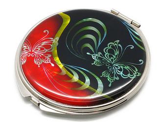 コンパクトミラー 天然貝仕様(蝶の舞姫・和)<螺鈿アート>の画像