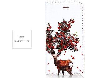 ★手帳型ケース★鹿椿 iPhoneX〜選択可能 iPhoneケースの画像