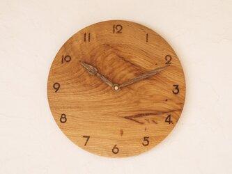 掛け時計 丸 楢材⑫の画像
