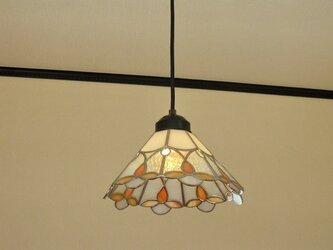 オレンジのお花(ステンドグラスペンダントライト)天井のおしゃれガラス照明 Lサイズ・2の画像