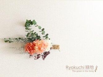 ピンク&ユーカリ横長スワッグ<壁掛け>の画像