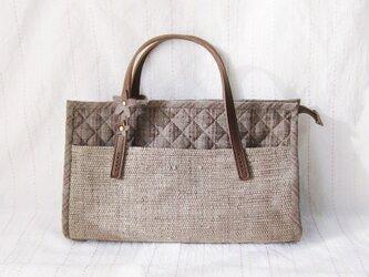 ☆セール第二弾☆ 紬と裂き織りのこぶりバッグ(茶)の画像