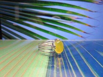 Leaf of Palm 4 ヤシの葉とイエローアゲートのリングの画像