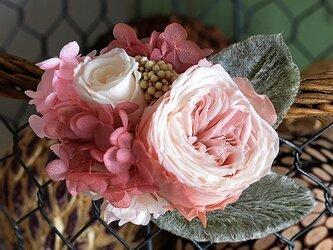 【アンティークショコラ】 プリザーブドフラワー コサージュ  ローズ アジサイ 発表会 結婚式 二次会 髪飾りの画像