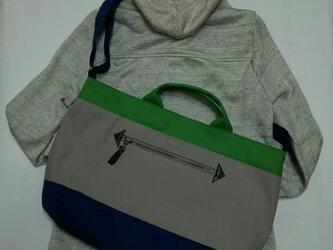 3wayショルダーバッグ(倉敷帆布 紺×グレー×グリーン)の画像