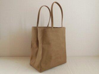 帆布 紙袋バッグ オリーブベージュの画像