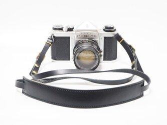 一眼レフ・ミラーレス用の本革カメラストラップ ブラック 【受注生産】の画像