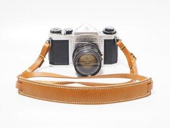 一眼レフ・ミラーレス用の本革カメラストラップ キャメル系ブラウン【受注生産】の画像