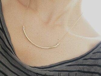 メタルバー*バイカラービーズゴールドネックレスの画像