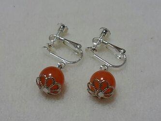オレンジアベンチュリン まる イヤリングの画像
