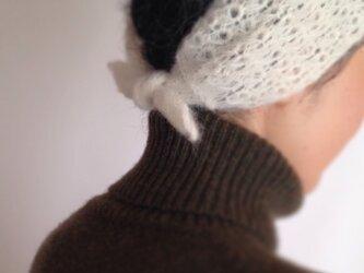 ふんわりアルパカウールのヘアバンド&スカーフ[2way]の画像