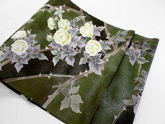 袋帯(白花蔓薔薇)の画像