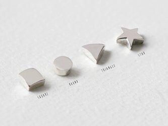 mini 図形 スタッド ピアス シルバー925の画像