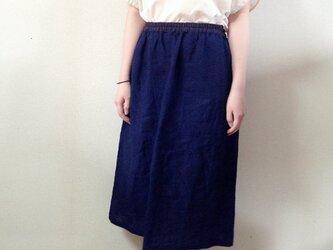 藍染めリネンのスカートの画像