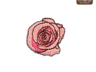バラのワッペンM(ピンク)の画像