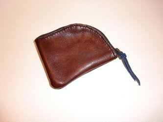牛皮製カード&小銭入れ ブラウンの画像
