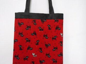 猫の手提バッグ(赤)の画像