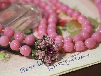 【1点モノ】ヴィンテージミリアムハスケル ロングネックレス ピンク の画像