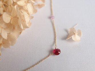 【K14gf】宝石質ルビーの一粒ネックレスの画像