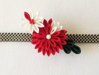 紅小菊の帯留め【つまみ細工/正絹】の画像