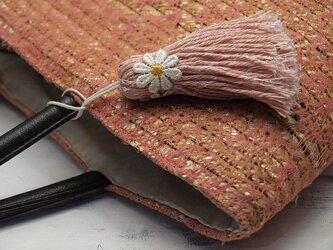 【完売】❁お花タッセル BIGマーガレット❁ 【XLサイズ】スパンコール バッグチャーム・キーホルダーなどに ピンクの画像