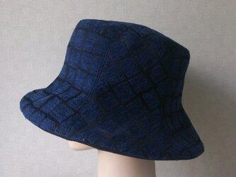 魅せる帽子☆限定SALE!ネイビー格子柄リバーシブルクロッシュの画像