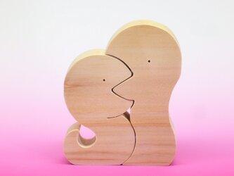 送料無料 木のおもちゃ 動物組み木 仲良しへびの画像
