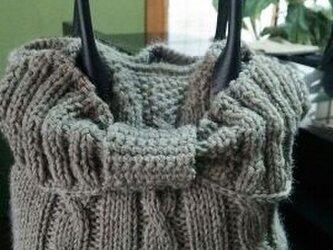 手編み*バック  ウール糸で編んだバッグの画像