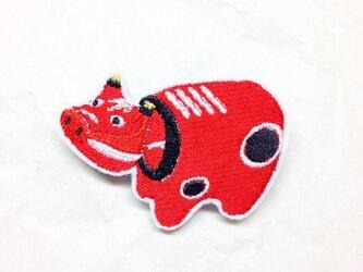刺繍ブローチ 「あかべこ」の画像