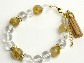 天然石ブレスレット(ゴールドルチルクォーツ,水晶)LB017の画像