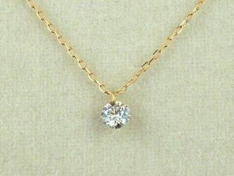K18 レーザーホールダイヤモンド0.1ct 一粒ネックレスの画像