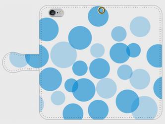 【送料無料】iPhone6/6s手帳型スマホケース 水玉-青の画像